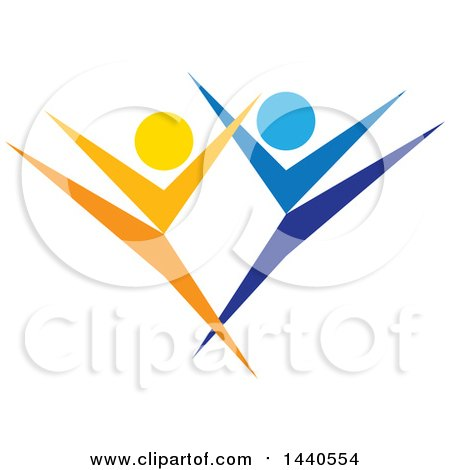 Clipart of a Blue and Orange Couple Dancing - Royalty Free Vector Illustration by ColorMagic