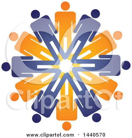 Clipart of a Teamwork Unity Group Circle of Blue and Orange People - Royalty Free Vector Illustration by ColorMagic