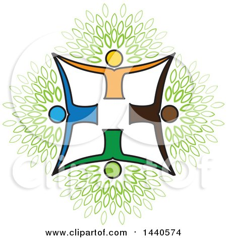 Clipart of a Teamwork Unity Group of People Forming a Tree Cross with Leaves - Royalty Free Vector Illustration by ColorMagic