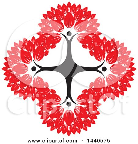 Clipart of a Teamwork Unity Group of People Forming a Tree Cross with Red Leaves - Royalty Free Vector Illustration by ColorMagic