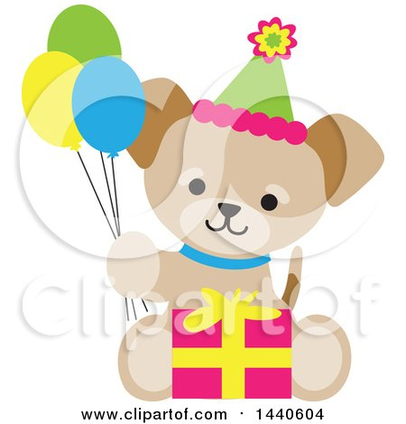 Clipart of a Cute Birthday Puppy Dog Holding Party Balloons and Sitting with a Gift - Royalty Free Vector Illustration by Maria Bell
