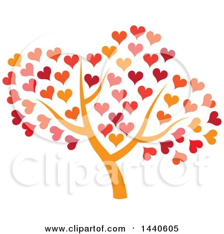 Clipart of a Tree with an Orange Trunk and Autumn Colored Hearts - Royalty Free Vector Illustration by ColorMagic