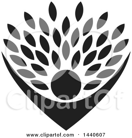 Clipart of a Black Silhouetted Cheering Person Holding up Leaves - Royalty Free Vector Illustration by ColorMagic