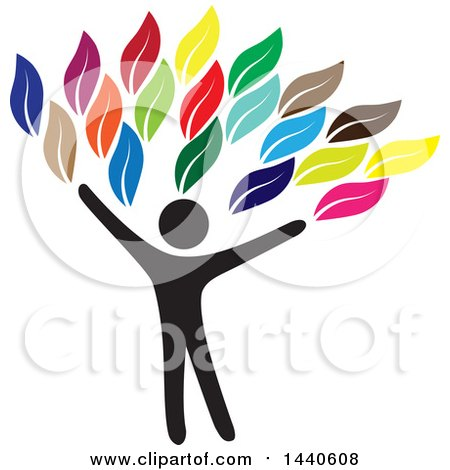 Clipart of a Black Silhouetted Person Forming the Trunk of a Tree with Colorful Leaves - Royalty Free Vector Illustration by ColorMagic