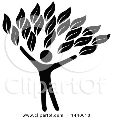 Clipart of a Black Silhouetted Person Forming the Trunk of a Tree - Royalty Free Vector Illustration by ColorMagic