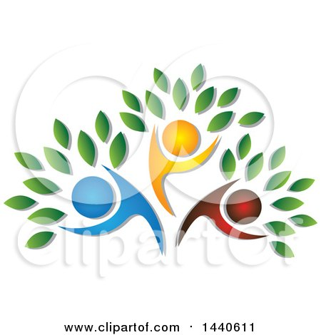 Clipart of a Blue, Red and Orange Family Forming the Trunk of a Tree - Royalty Free Vector Illustration by ColorMagic