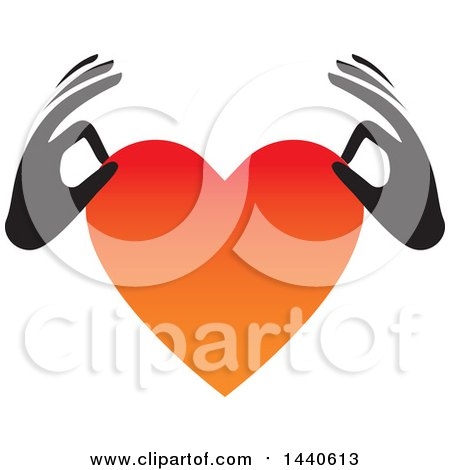 Clipart of Black Hands Holding a Love Heart - Royalty Free Vector Illustration by ColorMagic