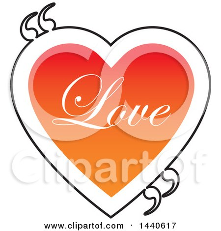 Clipart of a Love Heart with Text and Quotation Marks - Royalty Free Vector Illustration by ColorMagic