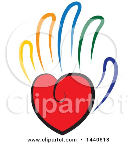 Clipart of a Love Heart As the Palm of a Hand with Colorful Fingers - Royalty Free Vector Illustration by ColorMagic