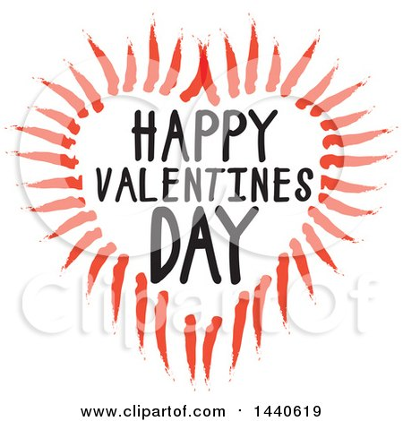 Clipart of a Love Heart with Happy Valentines Day Text - Royalty Free Vector Illustration by ColorMagic