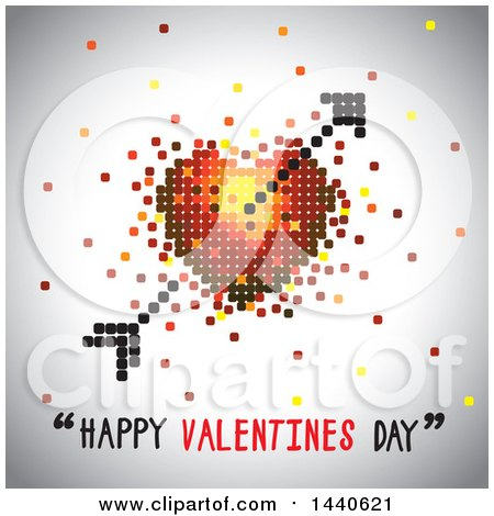 Clipart of a Love Heart with Cupids Arrow and Happy Valentines Day Text on Gray - Royalty Free Vector Illustration by ColorMagic