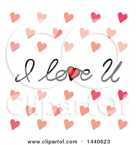 Clipart of I Love U Text with Hearts - Royalty Free Vector Illustration by ColorMagic