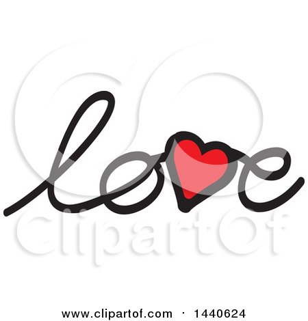 Clipart of a Heart in the Word Love - Royalty Free Vector Illustration by ColorMagic