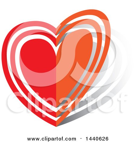 Clipart of a Folding Love Heart - Royalty Free Vector Illustration by ColorMagic