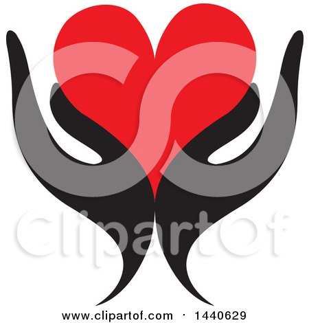 Clipart of a Pair of Black Hands Holding a Red Love Heart - Royalty Free Vector Illustration by ColorMagic