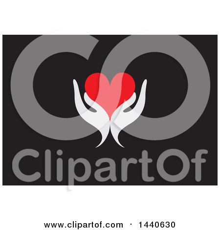 Clipart of a Pair of Light Gray Hands Holding a Love Heart, on Black - Royalty Free Vector Illustration by ColorMagic