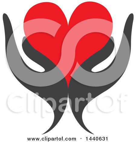 Clipart of a Pair of Gray Hands Holding a Red Love Heart - Royalty Free Vector Illustration by ColorMagic