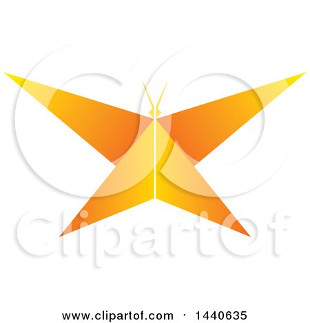 Clipart of a Gradient Orange Butterfly - Royalty Free Vector Illustration by ColorMagic