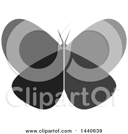 Clipart of a Grayscale Butterfly - Royalty Free Vector Illustration by ColorMagic