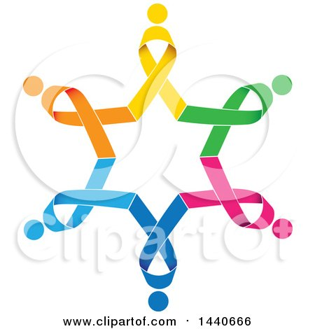 Clipart of a Colorful Awareness Ribbon People Circle - Royalty Free Vector Illustration by ColorMagic