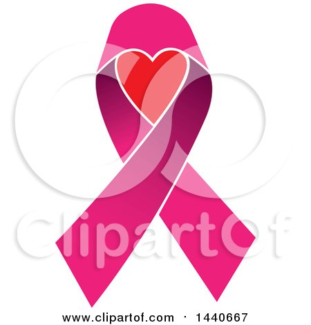Clipart of a Pink Awareness Ribbon with a Heart - Royalty Free Vector Illustration by ColorMagic