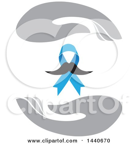 Clipart of a Blue Prostate Cancer Awareness Ribbon with a Mustache, Framed with Gray Hands - Royalty Free Vector Illustration by ColorMagic