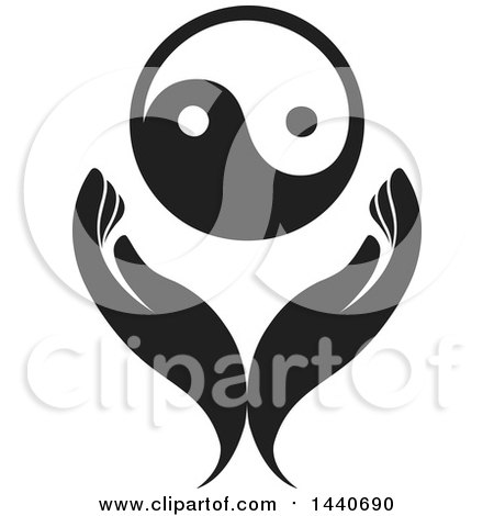Clipart of a Pair of Hands with a Yin Yang - Royalty Free Vector Illustration by ColorMagic