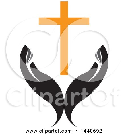 Clipart of a Pair of Hands with a Cross - Royalty Free Vector Illustration by ColorMagic