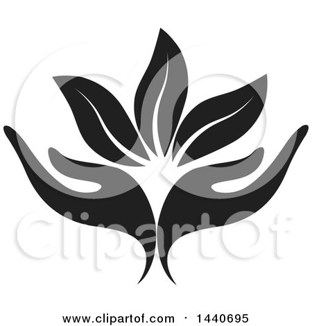 Clipart of a Black and White Pair of Hands with Leaves - Royalty Free Vector Illustration by ColorMagic
