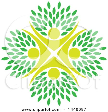 Clipart of a Circle of People Cheering, with Leaves - Royalty Free Vector Illustration by ColorMagic