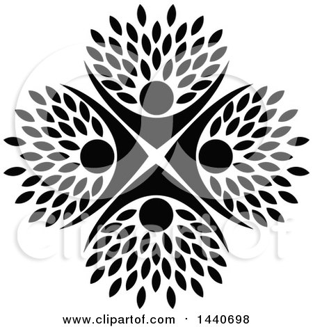 Clipart of a Black and White Circle of People Cheering, with Leaves - Royalty Free Vector Illustration by ColorMagic