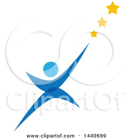 Clipart of a Blue Person Reaching for the Stars - Royalty Free Vector Illustration by ColorMagic