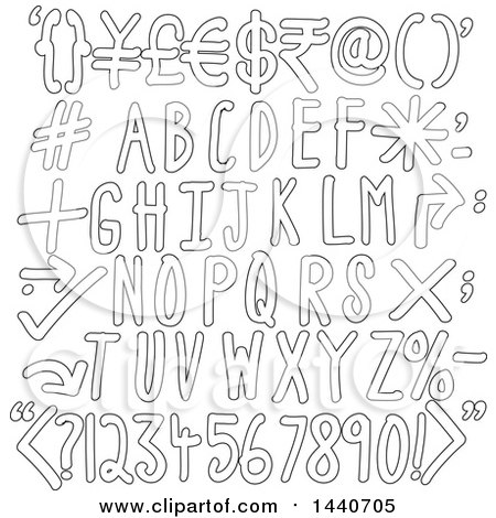 Clipart of Outlined Alphabet Designs - Royalty Free Vector Illustration by ColorMagic