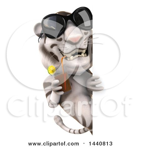 Clipart of a 3d White Tiger, on a White Background - Royalty Free Illustration by Julos