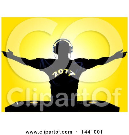 Clipart of a Black Silhouetted Male DJ Holding His Arms Up, Wearing a 2017 New Year Shirt, over Record Decks, on Yellow - Royalty Free Vector Illustration by elaineitalia