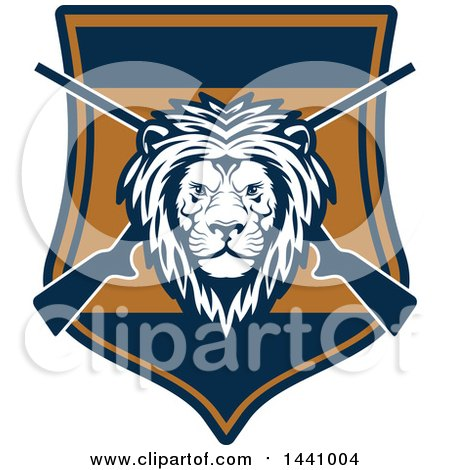 Clipart of a Male Lion Head and Crossed Hunting Rifles in a Shield - Royalty Free Vector Illustration by Vector Tradition SM
