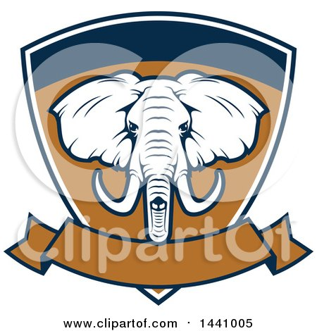 Clipart of a Big Game Elephant Safari Hunting Shield with a Banner - Royalty Free Vector Illustration by Vector Tradition SM
