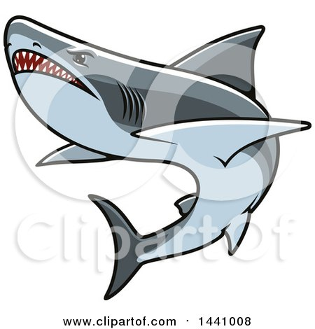 Clipart of a Swimming Aggressive Shark - Royalty Free Vector Illustration by Vector Tradition SM