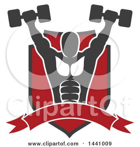 Clipart of a Silhouetted Strong Male Bodybuilder Working out and Doing Shoulder Presses with Dumbbells in a Shield with a Banner - Royalty Free Vector Illustration by Vector Tradition SM