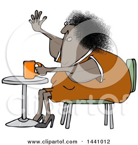 Clipart of a Cartoon Chubby Black Woman Sitting with Coffee at a Table and Waving with a Flabby Arm - Royalty Free Vector Illustration by djart