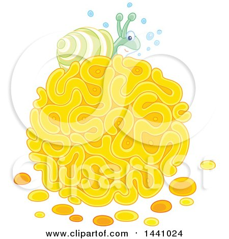 Clipart of a Happy Sea Snail on Coral - Royalty Free Vector Illustration by Alex Bannykh