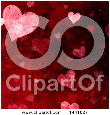 Clipart of a Grungy Red Valentine Heart Background - Royalty Free Illustration by KJ Pargeter