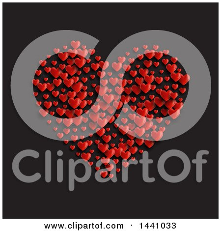 Clipart of a Cluster of Red Hearts Forming a Big Heart, on Black - Royalty Free Vector Illustration by KJ Pargeter