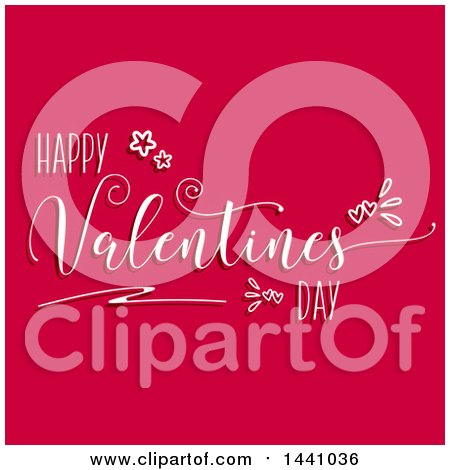 Clipart of a Happy Valentines Day Greeting on Dark Pink - Royalty Free Vector Illustration by KJ Pargeter