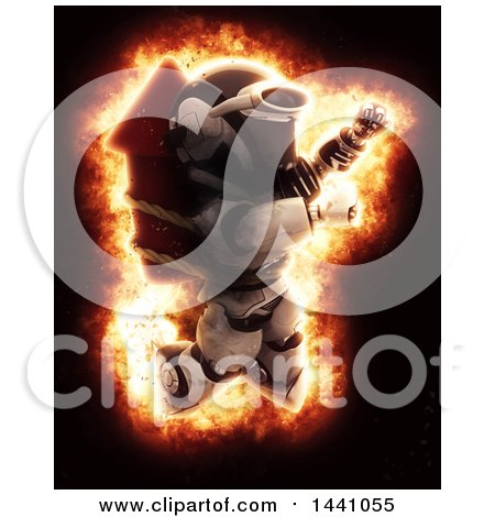 Clipart of a 3d Robot Strapped to a Rocket Firework, with an Explosion Effect - Royalty Free Illustration by KJ Pargeter