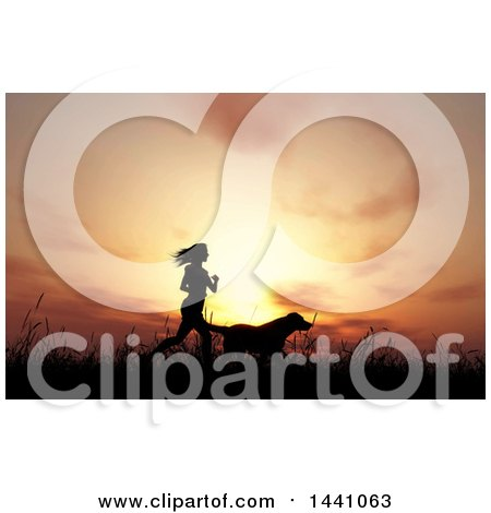 Clipart of a Silhouetted Fit Woman Jogging with Her Dog Against a Sunset or Sunrise - Royalty Free Illustration by KJ Pargeter
