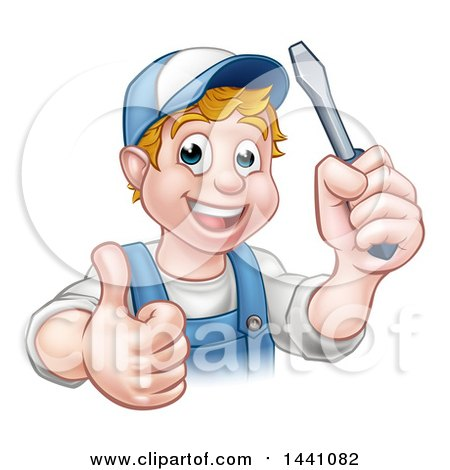 Cartoon Happy White Male Electrician Holding up a Screwdriver and a Thumb Posters, Art Prints
