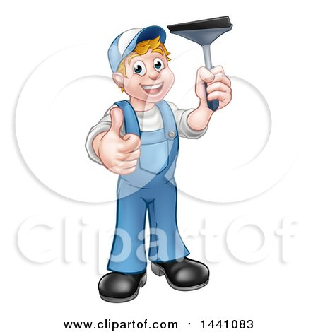 Clipart of a Cartoon Full Length Happy White Male Window Cleaner Giving a Thumb up and Holding a Squeegee - Royalty Free Vector Illustration by AtStockIllustration