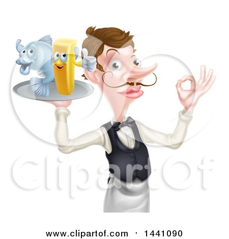 Clipart of a White Male Waiter or Butler with a Curling Mustache, Holding Fish and a Chips on a Tray and Gesturing Ok - Royalty Free Vector Illustration by AtStockIllustration