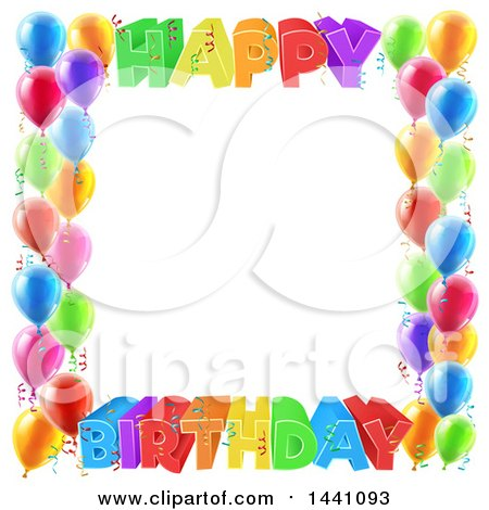 Clipart of a Colorful Happy Birthday Greeting Border with Confetti Ribbons and Party Balloons - Royalty Free Vector Illustration by AtStockIllustration